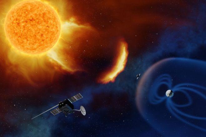 """""""朗格朗日""""航天器将""""蹲""""在地球和太阳之间,监测太阳喷射物.图片"""